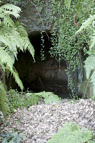南面窟。松葉ヶ谷法難の際、日蓮上人が身を隠したという洞窟。