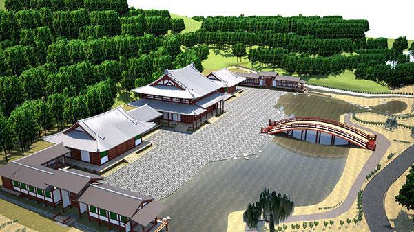 鎌倉市と湘南工科大学による永福寺の再現CG。