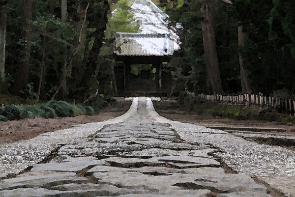 真冬の平日、寿福寺の参道。夕方近く、誰もいません。とても落ち着きます。