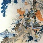 江戸時代に歌川国芳によって描かれた、畠山重忠の鵯越え。