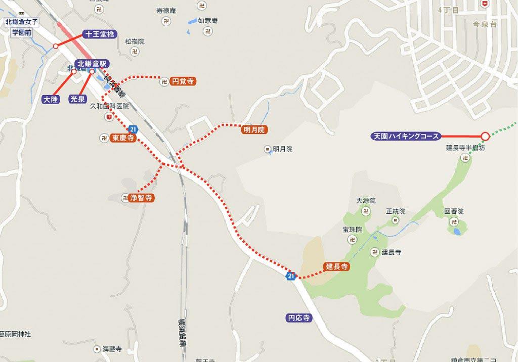 北鎌倉の紅葉ルートガイド地図