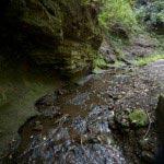 〔地図⑤〕切られた岩肌ときれいな水。春夏など暖かい季節は沢に水で手と顔を洗うと大変気持ち良いです。