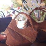 竹田安嵯代 作、酒袋と帯地を使ったバッグ(手さげタイプ)、62,000円。