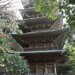 龍口寺の五重塔。1910年(明治43年)に竣工された神奈川県唯一の木造本式五重塔。欅造り銅板葺きの荘厳なつくりです。