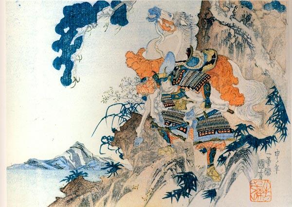 歌川国芳の描いた畠山重忠。鵯越えで馬を背負っているところ。