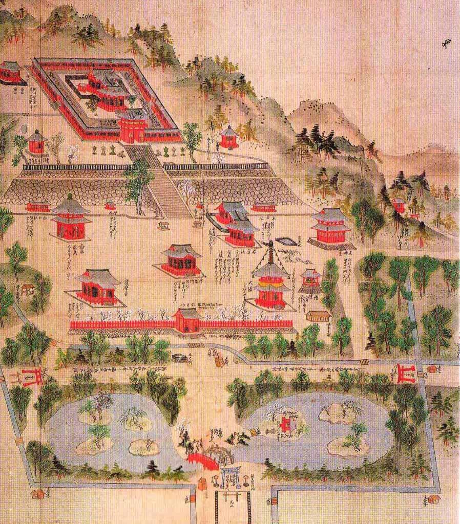1732年(享保17年)の鶴岡八幡宮絵図。源頼朝が創建した鶴岡八幡宮の姿をとどめた徳川秀忠による寛永造営からやく約100年後の姿ですが、伽藍の配置はおそらく変わっていません。