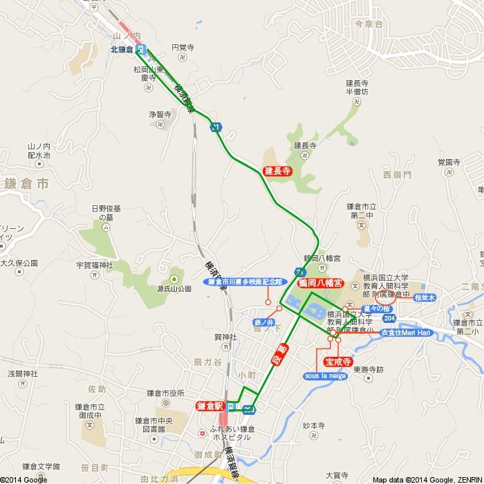 桜-建長寺-鶴岡八幡宮 地図