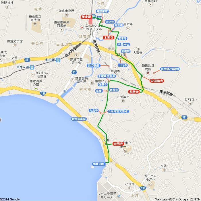 〈桜〉鎌倉 桜見物 2014 大町~材木座の地図
