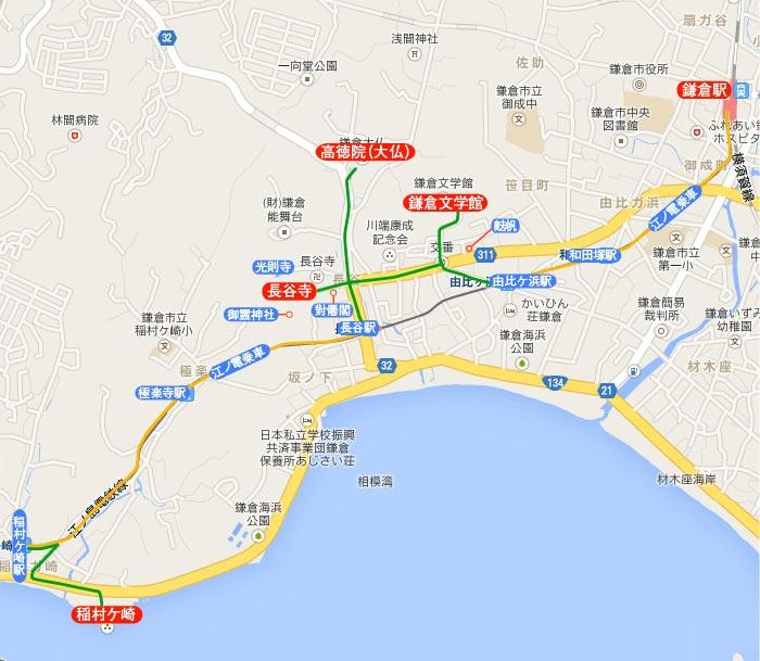 〈王道〉江ノ電、長谷、稲村ケ崎 地図