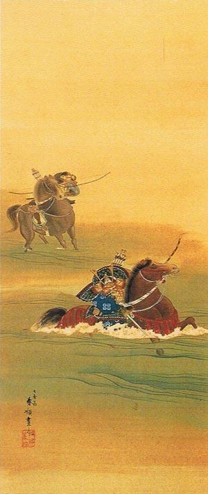 『宇治川先陣争図』。梶原景季を追い越した佐々木高綱が川底の縄を切りながら渡河する場面。