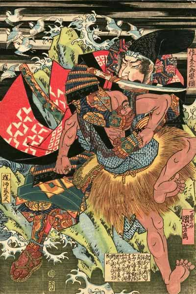 歌川国芳が描いた佐々木盛綱。藤戸の戦いにおいて馬のまま海路を押し渡った後に路を案内した漁師を殺したといういいつたえを描いています。