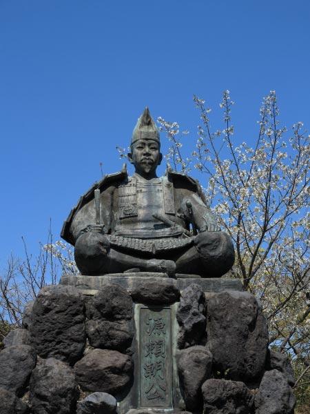 源氏山公園の桜。源頼朝像と桜。