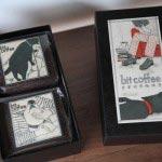 bit coffeeプチギフト。好きなコーヒー豆2種(各100g)を選んで、上等な和菓子店のようなしっかりした箱に入れてくれます。銅版画家・山田奈乙介さんの画が印象的。