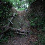 畠山城址を案内する地図によく書かれている「はしご」の場所です。現在ははしごが壊れて急坂補助の縄が設置されています。