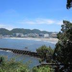 飛柏槙(ビビャクシン)の石碑がある場所から森戸海岸海水浴場をみます。