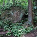 平成巡礼道にある大石と石像。