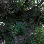 巡礼古道の削られた岸壁と庚申塔。