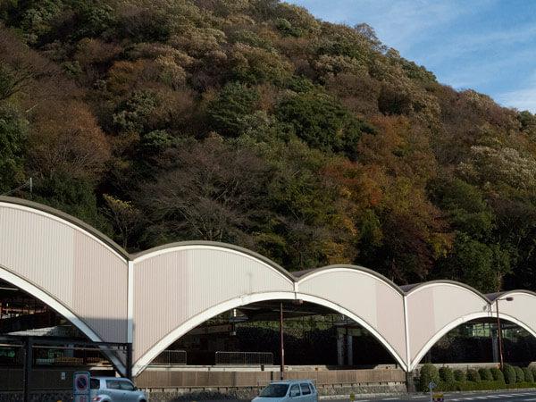 箱根湯本駅の背後の山も秋の色です。