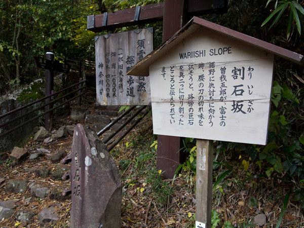 県道の反対側に旧道と割石坂の案内。