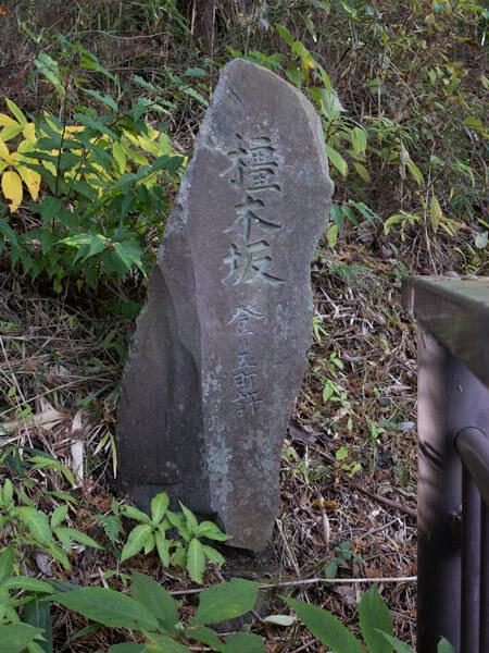 「橿木坂」の石碑。
