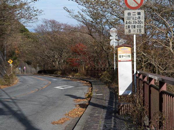 猿滑坂を登りきると県道に出ます。「猿すべり坂」バス停があります。