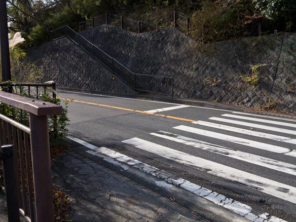 猿滑坂を登りきったら県道を横断し、そのまま少し歩きます。