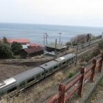 石橋山古戦場から相模湾とJR東海道線を見渡します。