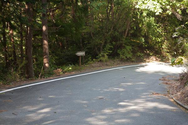 封事ヶ峠を越え、舗装道路と交差しながら進みます。1時16分。