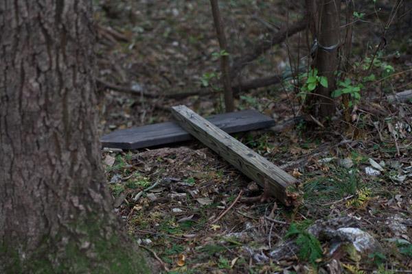 4時21分、倒れてしまった脱藩の道標を発見。