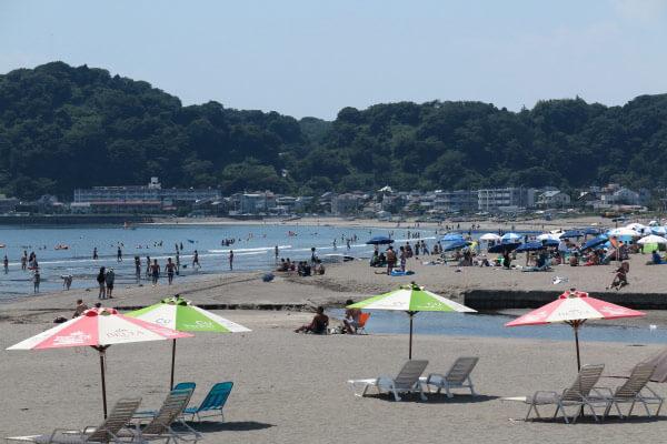 平成28年(2016年)7月19日の由比ヶ浜・材木座海水浴場。