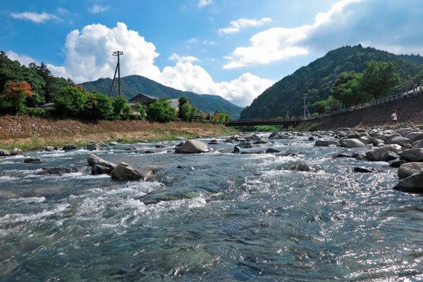 夏の道志川。